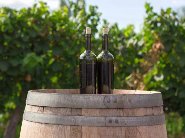 Flaschen auf Weinfass - Gutschein für Weinwanderungen